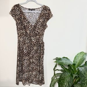 Jones wear cheetah print faux wrap midi dress